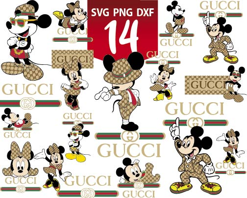 Gucci Disney Inspired Svg Mickey Mouse Svg Minnie Mouse Svg Luxury Brand Silhouette Cameo Cricut File Print File Upplop Design For T Shirts Graphic Resources Clip Art